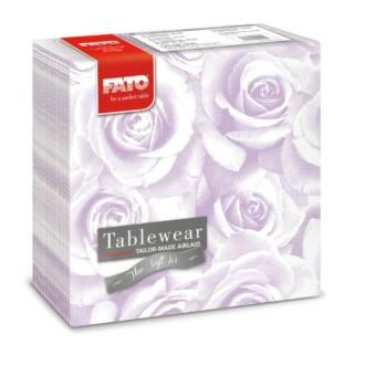 textilhatású szalvéta fato airlaid 40x40 cm roses lila 50db