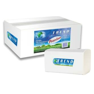 Hajtogatott kéztörlő TREND SOFT Premium V 2 rétegű fehér